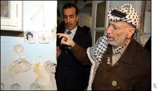 Yasser Arafat inside the Church of the Nativity