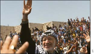 Yasser Arafat waves to his supporters during a visit to Jenin