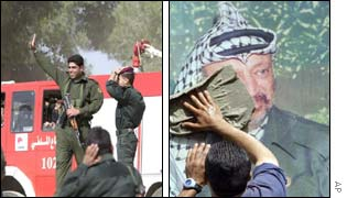 Yasser Arafat's guards in Ramallah wave as he sets off (l) as preparations are underfoot in Nablus (r)