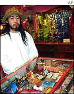 Ryoichi Abe, sales person at one of the headshops in a trendy Tokyo entertainment district
