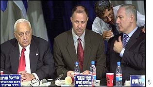 Ariel Sharon (left), Likud party chairman Tzachi Hanegbi (centre), Benjamin Netanyahu (right)