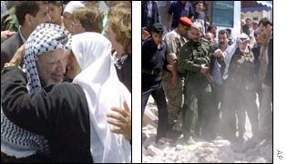 Yasser Arafat comforts a woman in Nablus (l) and visits the wreckage of a house(r)