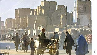 Kabul street with damaged buildings