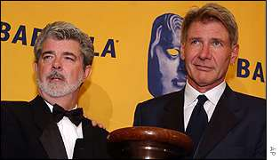 Lucas (left) and  Harrison Ford