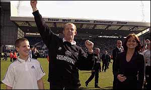 West Bromich Albion manager Gary Megson celebrates the Baggies' promotion