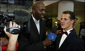 Michael Schumacher is interviewed at the Laureus Sports Awards in Monte Carlo