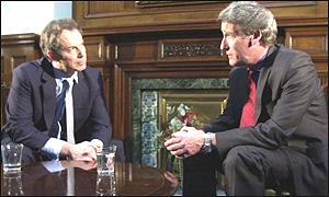 Prime Minister Tony Blair and BBC Newsnight's Jeremy Paxman