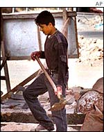 Palestinian labourer, working in Jewish West Bank settlement