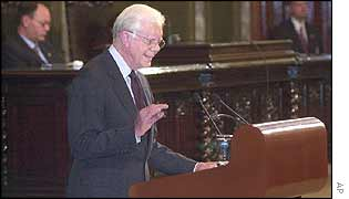 Jimmy Carter makes his speech