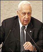 Ariel Sharon speaking in the Knesset