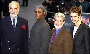 Christopher Lee (left) with Samuel L Jackson, George Lucas and Hayden Christensen