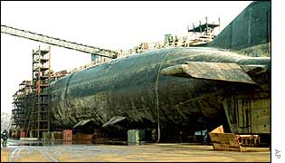 Kursk in dry dock