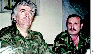 Milan Martic with Bosnian Serb wartime leader Radovan Karadzic