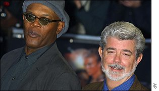 Samuel L Jackson helped to George Lucas celebrate his 58th birthday