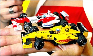 Honda and Toyota toy Formula One cars
