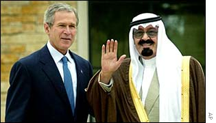 George W Bush and Crown Prince Abdullah