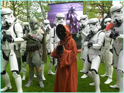 Storm Troopers rounded up the crowds before the charity premiere of Star Wars Episode II: Attack of the Clones