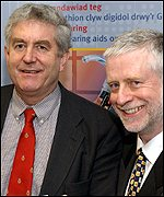 First Minister Rhodri Morgan and Director RNID Cymru Jim Edwards