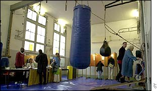 Polling station at boxing school in Amsterdam