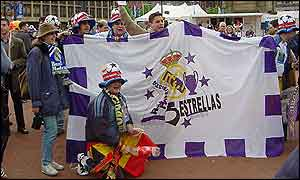 Real fans with flag