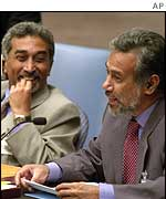 Mari Alkatiri (left) with Xanana Gusmao