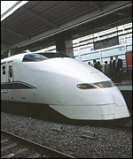 High speed Japanese train, at Kyoto Station