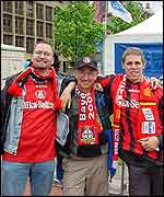 Bayer fans (from left) Gobias Ebel, Stephan Pies and Jens Schaefer