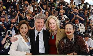 Stone is joined by Chinese actress Michelle Yeoh (left), director David Lynch and Indonesian actress Christine Hakim