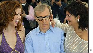 Woody Allen with Debra Messing (left) and Tiffani-Amber Thiessen