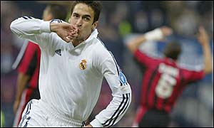 Real Madrid's forward Raul celebrates after scoring the first goal of the Champions League final