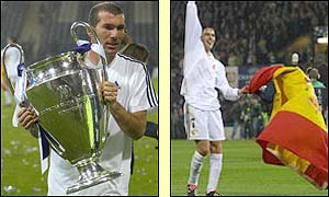 Real Madrid's stars Zinedine Zidane and Raul celebrate their European success
