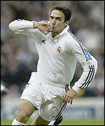 Raul celebrates his early goal for Real Madrid at Hampden Park