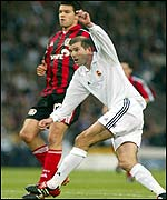 Zinedine Zidane volleys the winning goal for Real Madrid against Bayer Leverkusen