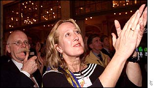Pim Fortuyns List party candidate Marianne Kromme applauds her party's results