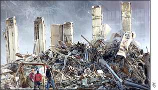 Workers in the remains of the World Trade Center in New York