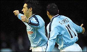 Alexander Mostovoi (right) celebrates after scoring for Celta Vigo