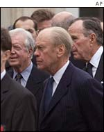 Former presidents Jimmy Carter, Gerald Ford and George Bush