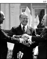 Sadat, Carter and Begin celebrate the Camp David Accord
