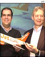 Stelios-Haji-Ioannou and Ray Webster of Easyjet after they announced the takeover of Go