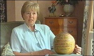 Christina Bayley with the original cup final ball