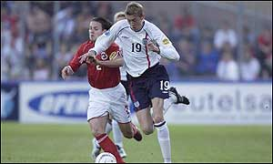 Crouch scored his first goal for England U-21