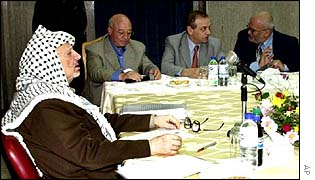 Yasser Arafat at a cabinet meeting