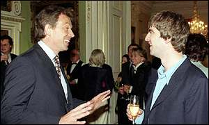 Tony Blair with Noel Gallagher
