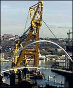 Millennium Bridge being fixed into place