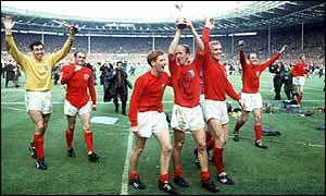 England players celebrate 1966 World Cup victory