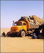 Lorry stuck in the desert