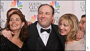 Lorraine Bracco, James Gandolfini and Edie Falco at awards ceremony