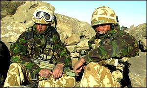 Royal Marines from 45 Commando in the eastern mountains of Afghanistan