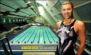 Former British Olympic swimmer Sharron Davies at the new Aquatic Centre