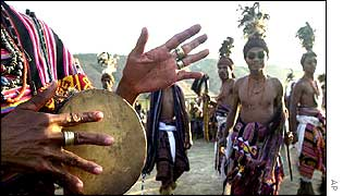 The Hato Builico aboriginal tribe of East Timor dance to a drum beat during the rehearsal for the country�s upcoming independence day